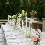 Banquet table on patio