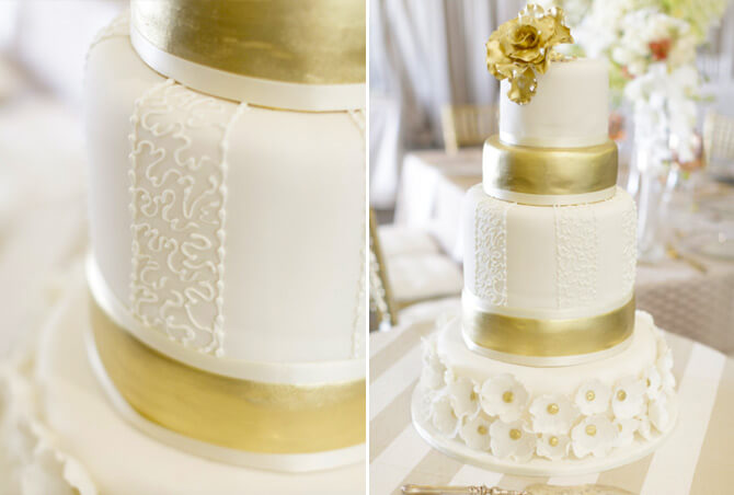 Wedding cakes. Gold & White theme - By Word Of Mouth